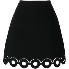 Carven Hoop Hem a-Line Skirt (181.505 CLP) ❤ liked on Polyvore featuring skirts, a-line skirt, black, black skirt, bottoms, knee length a line skirt, carven skirt and a line skirt