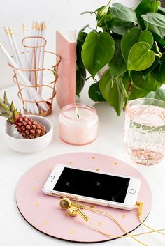 Styled Stock Photography Blush and Greenery Desk Collection #07