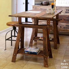 construye una mesa rstica con caballetes - Drafting Table Ikea