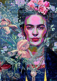 Frida Kahlo Popart Poster Foto Frida Popart von giftsforloved
