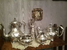 Victorian Sheffield hand chased silver plate Tea Set With Birds John Turton