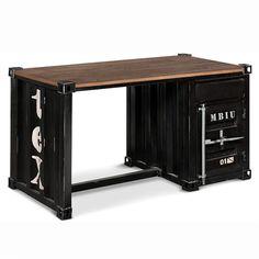Schreibtisch vintage schwarz  Rollschreibtisch im Industrial-Stil aus Metall, B 104 cm, schwarz ...