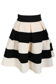Black and white striped skirt. This would look good with a solid color shirt.