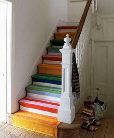 Striped stairs create a fun, untraditional look