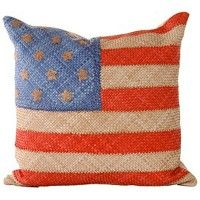 Nation on Vacation Faded Glory Dransfield & Ross Bluestone Pillow (Ostrich Feather, Celadon) www.shopatbellissimo.com #shop #gifts #luxury #home #homedecor #USA #America #flag