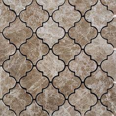 lantern-arabesque-mosaic-tile-emperador-light-marble-polished - The world's most private search engine Travertine Backsplash, Blue Backsplash, Beadboard Backsplash, Herringbone Backsplash, Kitchen Backsplash, Backsplash Ideas, Kitchen Floor, Soapstone Countertops, Hexagon Backsplash