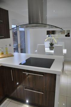 Noce Glacier Kitchen with 60mm Duropal White Laminate Worktops