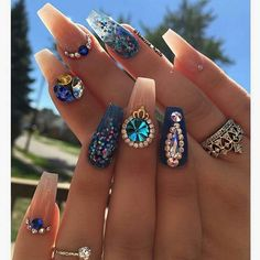 summer nail art designs 2017 | #rhinestones | #coffin | #pearl | #diamonds | #jewels | #gems | french
