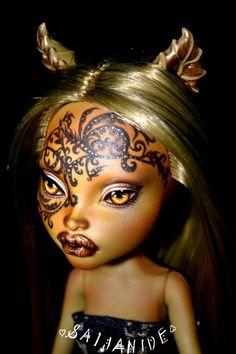 monster high repaint doll custom ooak reroot mask tattoo - Toffee by Saijanide