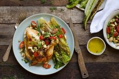 Roast chicken and grilled romaine with herb butter and olive tapenade