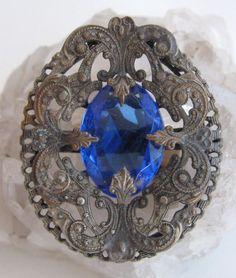Antique Filigree Jeweled Button Silver Gilt Brass Sapphire Blue Czech Glass  #Czech