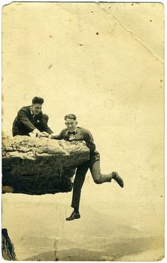 Real Photo Postcard: 1917 Bill & Wisdow [?] O'Neal (1917) yikes looks like glacier point in Yosemite. ..I'd NEVER do this!