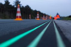 Daan Roosegaarde's Smart Highway --  a highway that glows in the dark
