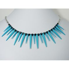 Blue Spike Necklace #Spike #Neon #Blue gifted to the stylist for Pretty Little Liars #PLL