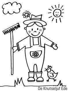 Kleurplaten - Op de Boerderij   kleurplaat kleurplaten boerderij-boer   kleurplaten   kleurplaat   boerderij   boerenleven   boer en boerin   tractor   klompen   Welke kleurplaten zijn er? (1187) Primary School, Pre School, Baby Farm Animals, Farm Theme, Preschool Crafts, Easy Drawings, Painted Rocks, Coloring Pages, Embroidery Designs