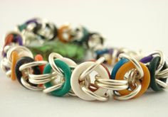 Late Spring Cleaning Sale - Economical Byzantine Bracelet - Colorful Chainmaille - Stretchy Rubber and  Anodized Aluminum. $5.00, via Etsy.