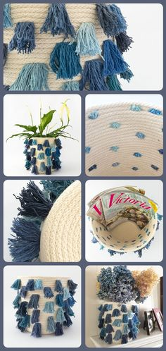 Shades of Blue Fringe Adorn this Coiled Rope Basket. Make a Bold Statement with this Unique and Ecletic Piece that Complements any Blue and White Home Decor Rope Basket, Color Balance, Fancy, White Home Decor, Cotton Rope, White Houses, Mild Soap, Shades Of Blue, Blue And White