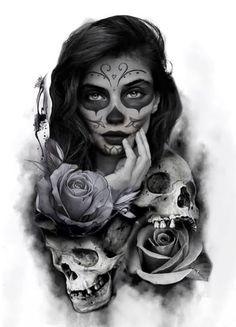 Tattoo Girls, Tattoo Designs For Girls, Tattoo Designs And Meanings, Tattoo Sleeve Designs, Sleeve Tattoos, La Muerte Tattoo, Catrina Tattoo, Sugar Skull Girl Tattoo, Skull Rose Tattoos