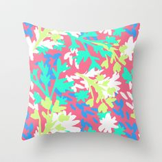 Spring floral illustration pattern Throw Pillow by Laura Dro - $20.00