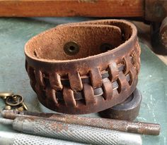Antique Men's Brown Leather Cuff Bracelet, Leather Wrist Band Wristband Handcrafted Jewelry. $12.50, via Etsy.