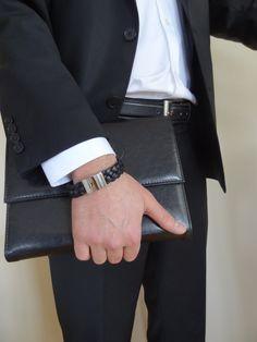 Men's Black Braided Leather Bracelet STAINLESS STEEL #bracelet #for #summer #fashion