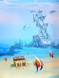 wandmalerei I want to do an underwater mural on Leon's bedroom wall. Sea Murals, Ocean Mural, Ceiling Murals, Wall Murals, Wall Art, Underwater Room, Underwater Painting, Mural Painting, Kids Room Murals