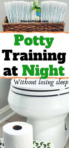 How to potty train at night the easy way! Here's what to do when your kid is day time potty trained but still wets the bed at night. See when your child will likely start holding their pee through the night, and how to make the leap without diapers when they are ready. #pottytraining #toddler #toddlers #parentingtoddlers #parentingtips #raisingkids #babies #sahm #toilettraining #diapers #blueandhazel #preschooler