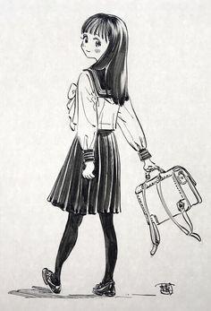 Manga Girl, Manga Anime, Anime Art, Cute Japanese Girl, Manga Artist, Art Reference Poses, Anime Sketch, Kawaii Art, Fairy Art