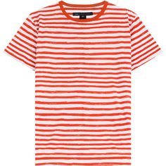 Marc by Marc Jacobs Striped Cotton T-Shirt (500 CNY) ❤ liked on Polyvore featuring tops, t-shirts, shirts, tees, stripes, pink t shirt, round neck t shirt, stripe t shirt, long t shirts and cotton shirts
