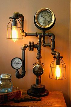 industrial lamp diy from hardware and flea market finds #steampunk