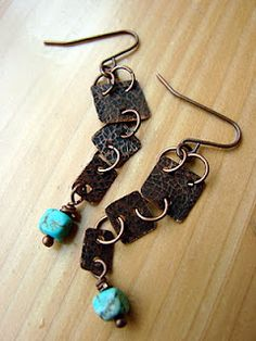etched copper and howlite earrings