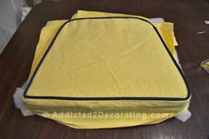 how to upholster a dining seat cover with welt cord: I really wish I had read this before I made my T-cushions for my chairs...