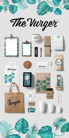 The Vurger · Caravan Vegan food truck. Graphic Design Stationery and packaging. Tropical surf style corporate identity · The Vurger · Caravan Vegan food truck. Graphic Design Stationery and packaging. Corporate Identity Design, Logo And Identity, Brand Identity Design, Visual Identity, Brand Design, Graphisches Design, Logo Design, Graphic Design Branding, Truck Design