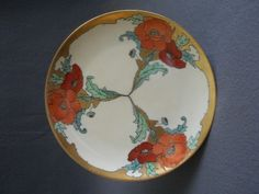 """Art Deco"" Home Studio Hand Painted Cabinet Plate w/California Poppy Motif"