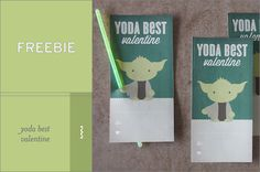 Love these free printable Yoda valentines with the glow sticks attached. What a fun idea!