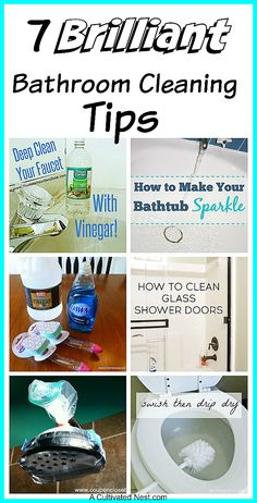 7 Brilliant Bathroom Cleaning Tips: Awesome bathroom cleaning tips that will help make cleaning easier and faster! Cleaning hacks, bathroom cleaning tips, cleaning tips, homemaking Cleaning Faucets, Bathroom Cleaning Hacks, Household Cleaning Tips, Cleaning Recipes, House Cleaning Tips, Deep Cleaning, Spring Cleaning, Shower Cleaning Tips, Bedroom Cleaning Tips