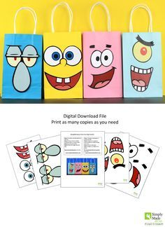 DIY Spongebob and Friends Favor Bags. Simply Download, Print, Cut and Paste. Print as many copies as you need.