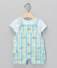 659032ed9a90 Take a look at this Light Blue Plaid Tee  amp  Shortalls - Infant by Absorba
