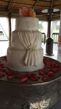 White Lace Wedding Cake with Draping & Pearl Detail
