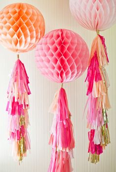 Easy to make Honeycomb Pom Poms for fabulous princess party pink decor.  #DIY