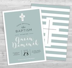 Baptism invitation boy christening invitation by WLAZdesignSHOP