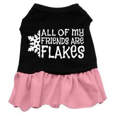All my friends are Flakes Screen Print Dress Black with Pink XL (16)