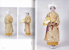Original text: Another Muromachi kosode. In all the first three pictures, note the different length of the kosode worn under the outer layer and how much it varies. Can you see how the left okumi and end of the collar is folded back to show the lining? Japanese Costume, Japanese Kimono, Japanese Outfits, Japanese Clothing, Muromachi Period, Kamakura Period, Heian Era, Traditional Kimono, Japanese History
