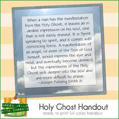 LDS Handout on the Holy Ghost