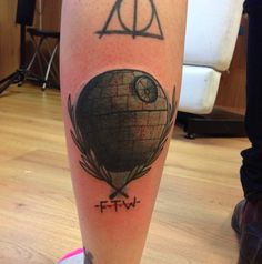Death Star tattoo done by resident artist, Luke, at Rock'n'Roll Tattoo Glasgow. Star Wars  tattoo
