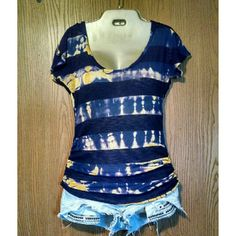 Daytrip Tie Dye Top Daytrip Tie Dye Top Size medium (fits a small best IMO) Vguc Normal wear  No stains, holes, etc.. The black stripes are sheer and the tie dye areas are still sheer like a burnout material. Runched at sides on hips (3rd photo) Adorable top! Daytrip Tops Tees - Short Sleeve