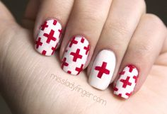 American Red Cross nails - Why not? March is Red Cross month :) Cross Nail Art, Cross Nails, Hair And Nails, My Nails, Lady Fingers, Magic Fingers, Blood Drive, American Red Cross, New Nail Art