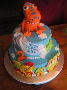 Dinosaur Train cake for Lucas' birthday Dinosaur Train Cakes, Dinosaur Party, Dinosaur Birthday, Dino Train, Trains Birthday Party, Birthday Fun, Birthday Ideas, Birthday Cake, Birthday Parties