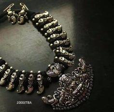Antique german silver Gajalakshmi pendant with mango silver beads thread neckalce and earring - Exclusive Designer