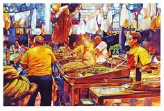 """Carnival cooks by Graham Berry Watercolor ~ 18"""" x 28"""""""